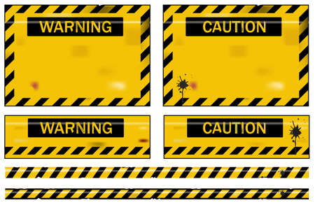 Old worn grungy yellow and black warning signs