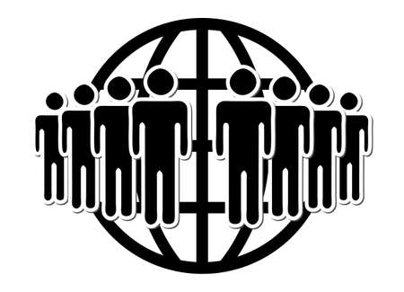Group of people, network,  in front of world wide web symbol Vector