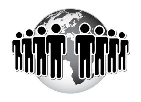 Group of people, network, in front of terrestrial globe