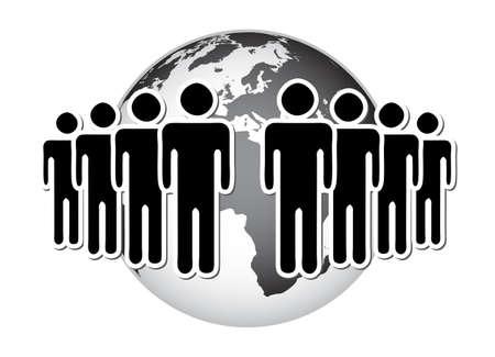 terrestre: Gruppo di persone, rete, di fronte al globo terrestre Vettoriali