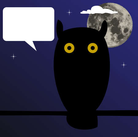intense: Owl sitting on branch with the moon in the background, a balloon for your text Illustration