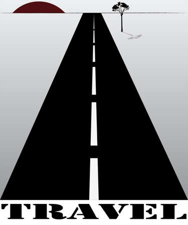 disappears: Road that disappears into the horizon & the setting sun, vector illustration
