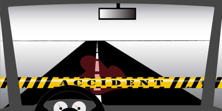 An accident site seen through the windscreen, a pool of blood on the street Stock Vector - 9660006