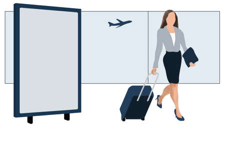 tourist information: Modern female traveler with luggage at airport, billboard with space for advertising Illustration