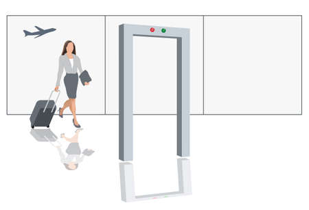 depart: Modern female traveler with luggage at airport security check Illustration