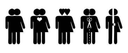 Stick cijfers, vector symbolen voor relatie, liefde en scheiding Vector Illustratie