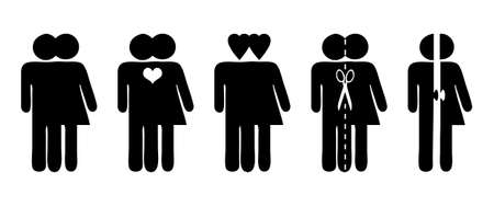 Stick figures, vector symbols for relationship, love and separation Vettoriali