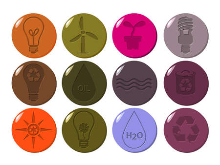 Colourful carved environmental vector icons set Stock Vector - 9844875