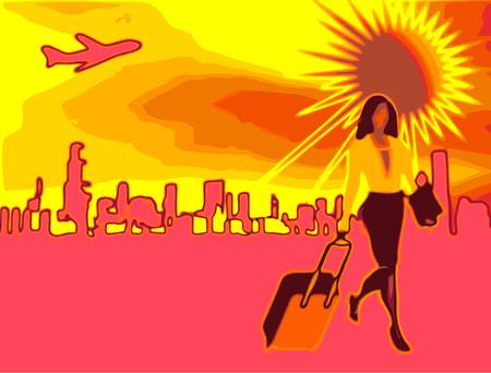 depart: Modern female traveler with luggage, city on the horizon and aircraft in the sky, pop art