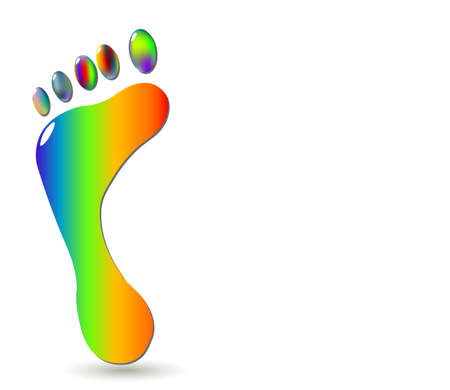 toes: Barefoot colourful footprint symbol vector