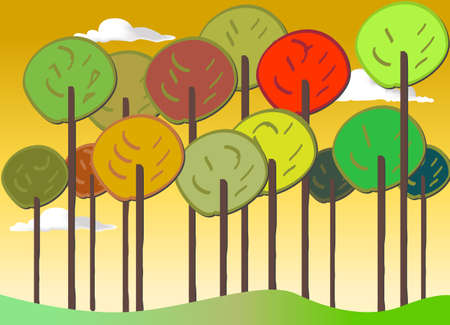 weald: Colourful Forest vector set autumn Illustration