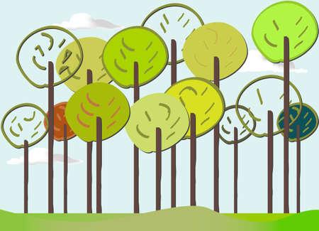 Colourful Forest vector set springtime