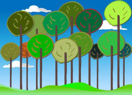 weald: Colourful Forest vector set summer Illustration