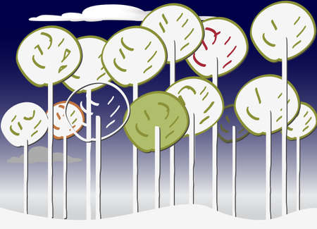 Colourful Forest vector set winter Stock Vector - 9844880