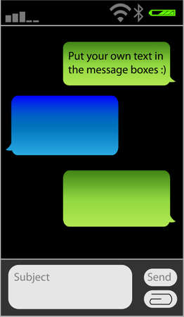 Place your own text in the message boxes, messaging on mobile phones Stock Vector - 9844868