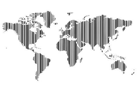 world map as bar-code