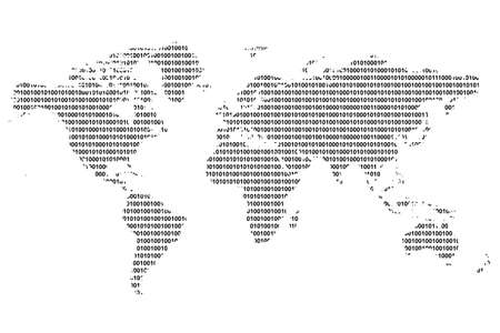 world market: World map with binary code