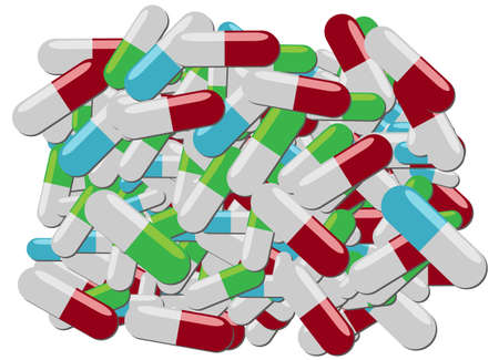 overdose: Colorful pills of various kinds in one big pile Illustration
