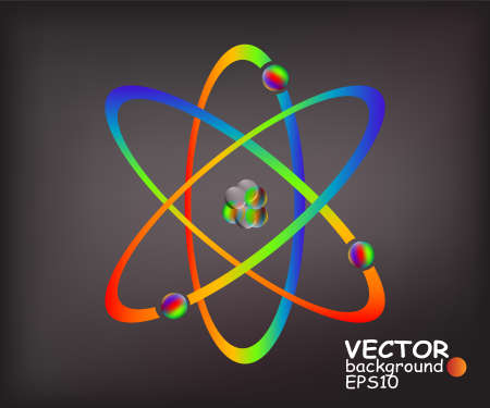 Simplified model of an atom with protons, neutrons and electrons Vettoriali