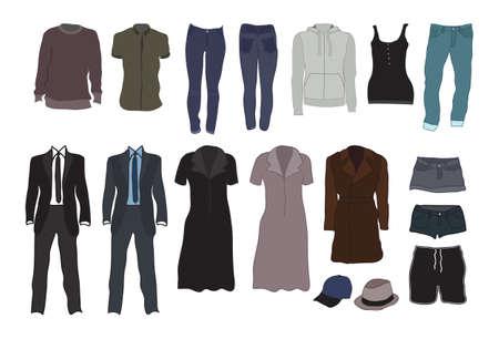 dress coat: Colorful abiti moderni femminili e maschili Vettoriali