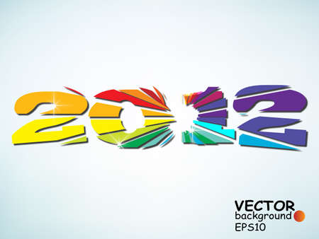 New year 2012 in colorful background design. EPS10 vector illustration  Vector