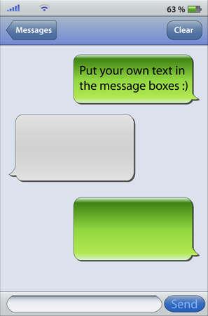 converse: Platzieren Sie Ihren eigenen Text in den Message-Boxen, Messaging auf Mobiltelefonen Illustration