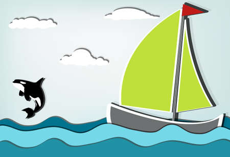 Orcinus orca, Killer whale jumping high behind sailboat Vector