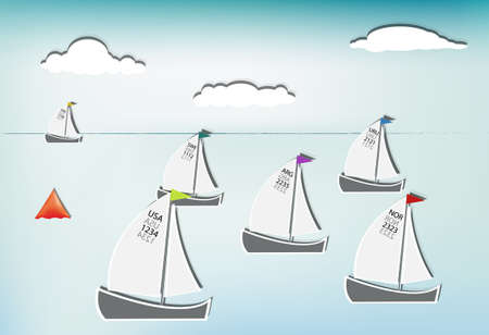 Competition in sailing, sailboats from around the world Stock Vector - 12937451