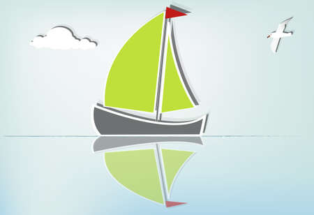 horizon reflection: Serene sailing a summer day Illustration