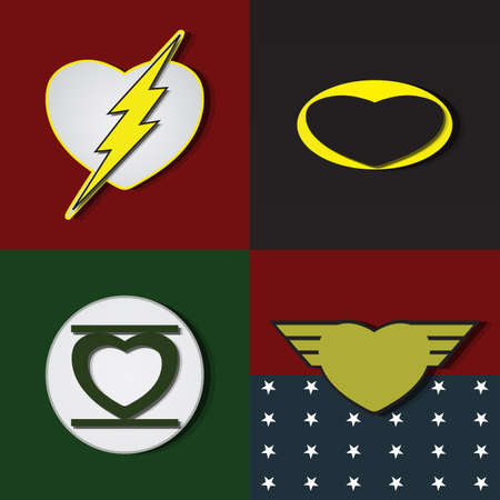 super star: Superhero shields shaped like hearts, symbol for strong love
