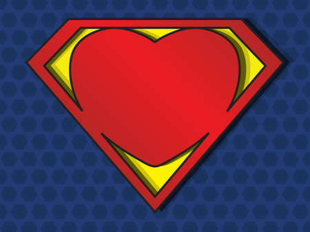 a big red heart shaped like a superhero shield, symbol for strong love