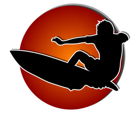 Surfer silhouette against big red sun Vector