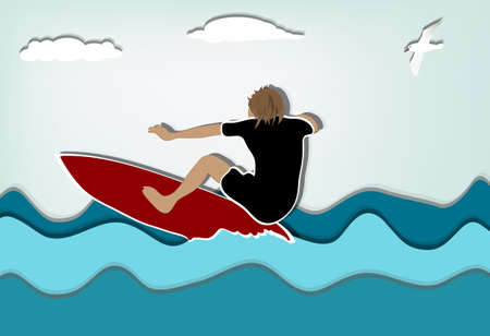 Surfer and a seagull a summer day Stock Vector - 12937454
