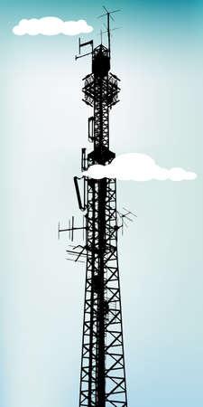 антенны: Высокие антенны связи с небесно-голубой, векторная иллюстрация Иллюстрация