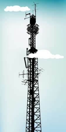 telecommunication equipment: Tall communication antenna with blue sky, vector illustration Illustration