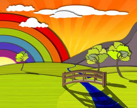 Mountainside: Idylliczne kolorowy krajobraz, tęcza za zielonymi wzgórzami, wektor eps10