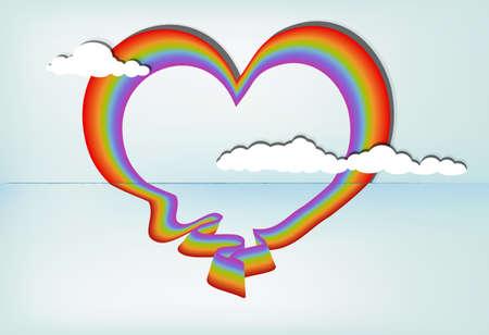 Heart shaped rainbow against blue sky, eps10 vector