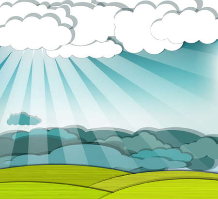 dramatic clouds: Dramatic scene with sunrays finding their way through the clouds, eps10 vector