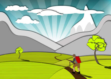 Magnificent view of the wanderer and the mountains, eps10 vector Stock Vector - 13387519