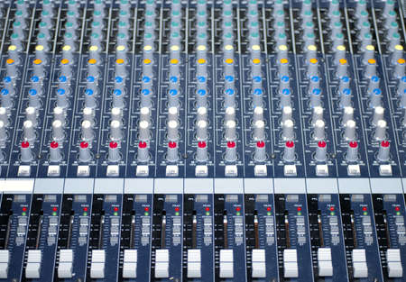 Close up of control table, many buttons in different colors Stock Photo - 13628222