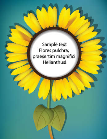 A big sunflower with copy space for your text or message Stock Vector - 13629009