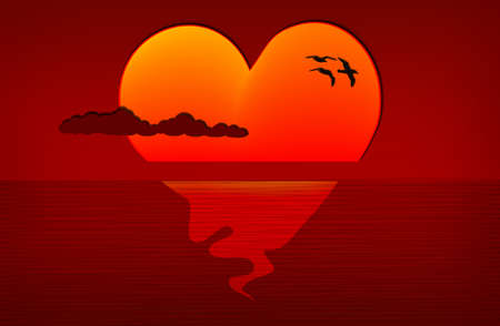Beautiful sunset, glowing sun with shape of a heart, eps10 vector Vector