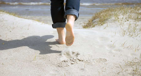 adult footprint: Close-up of women Stock Photo