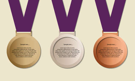 Medal in ribbon with copy-space, symbol for winning and success, Medals for example Olympic games, vector Vector