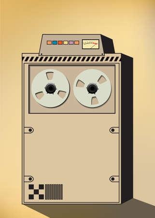 Vieux traitement électronique des données, vecteur rétro avec bobine à bobine ordinateur