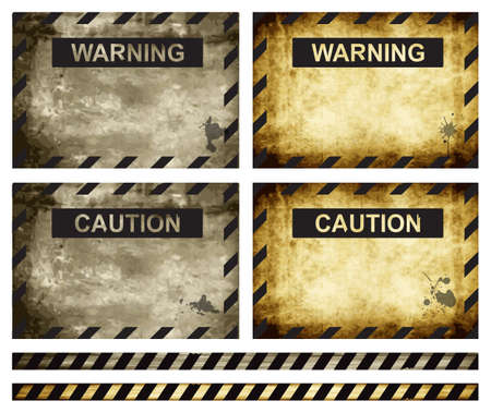 Old worn-out warning and caution signs, eps10 vector Stock Vector - 14473986