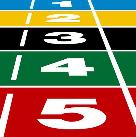 running track: Perspectief van start of de finish positie op atletiekbaan Stock Illustratie