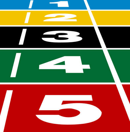 Perspective  of start or finish position on running track Stock Vector - 14840862