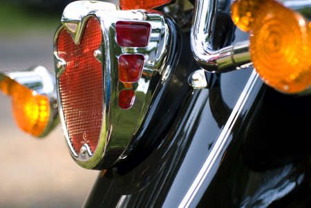 Close up of rear light on motorcycle photo