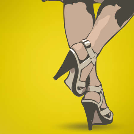 Beautiful female legs and high heel shoes, vector illustration